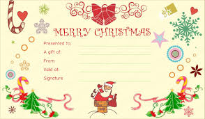 printable christmas gift certificate template