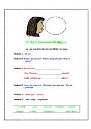 english worksheets in the classroom dialogue