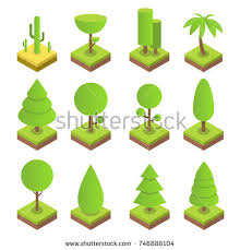 big ans small trees pine shrubs stock vector 536284108