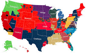 Map Of New York State Counties by The Geography Of Nfl Fandom The Atlantic