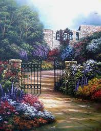 bells and blossoms oil painting garden by vickiewadefineart