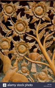 thailand bangkok traditional thai wood carving with flower and