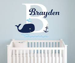 Cheap Wall Decals For Nursery Name Wall Decal Whale Wall Decal Nautical Baby Room Decor