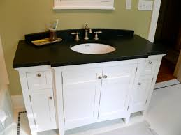 white sink black countertop black bathroom countertop and round white undermount sink on small