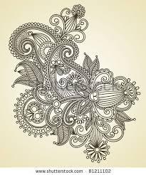 Flower Designs For Drawing Image Detail For Hand Draw Line Art Ornate Flower Design