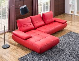 Tufted Sofa With Chaise by Furniture Contemporary Red Vinyl Chaise Sofa With Tufted Seat