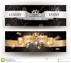 Event Invitation Card Luxury Event Invitation Card With Gold And Silver Ribbons Stock