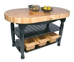 boos butcher block kitchen island boos harvest table with oval butcher block top shelves baskets at