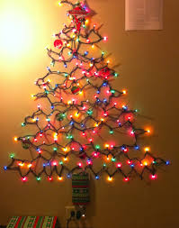 awesome christmas tree on wall with lights pics decoration