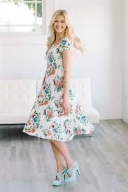 coral mint white floral pocket modest summer dress cute modest