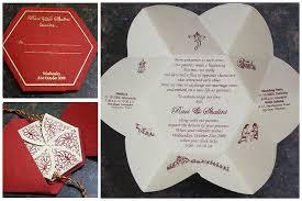 Stunning Hindu Wedding Invitation Wordings Cards For Wedding Invitations Hexagonal Red Gold Beautiful Folder
