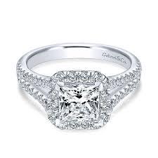 split band engagement rings 14k white gold princess cut halo with pave split shank 14k