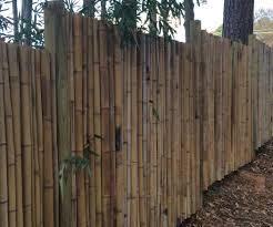 decorating interesting backyard design with bamboo fence roll and