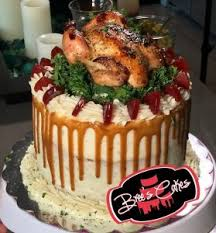 spectacular savoury thanksgiving cake with turkey and mashed