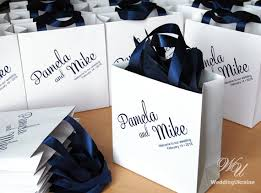 ribbon with names wedding welcome bags with navy satin ribbon and names