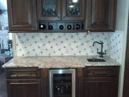 modern glass tile kitchen backsplash with dark vintage kitchen