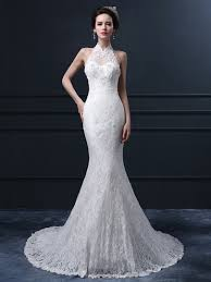 trumpet wedding dresses halter wedding dresses tbdress