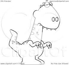 cartoon clipart of a depressed velociraptor dinosaur vector