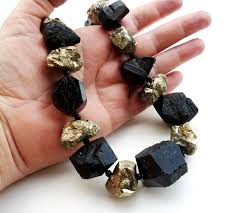 natural stone statement necklace images The rock star black tourmaline and pyrite necklace big skies jpg
