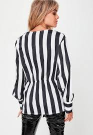 black and white striped blouse white striped sheer wrap front blouse missguided