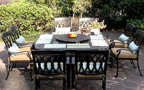 Cast Aluminum Patio Tables Patio Furniture Dining Set Cast Aluminum 64 Square Table 9 Pc San
