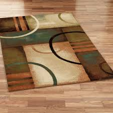 contempory area rugs square cream brown green geometric pattern