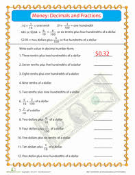 writing decimals as fractions worksheets money practice fractions decimals worksheet education