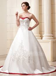 ball gown sweetheart chapel train satin wedding dress with