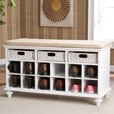 furniture black wooden bench with shoe storage and brown cushion