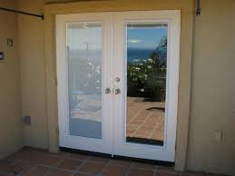 Wooden Patio Door Blinds by Furniture White Wooden French Door With Two Swing Door Using