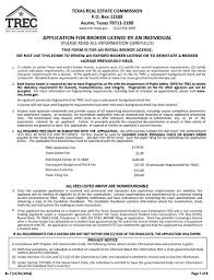 application for real estate broker license by an individual trec