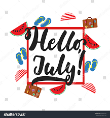 hello july hand drawn summer lettering stock vector 667905733
