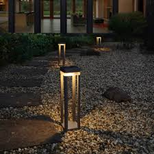 Bollard Landscape Lighting by Lutec Table Cube Portable Solar Powered Led Bollard Light In