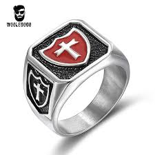 men vintage rings images Red enamel shield cross rings mens stainless steel knights templar jpg