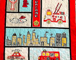 fire truck quilt etsy