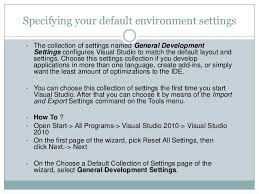 visual studio reset application settings visual studio basics