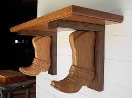 Wooden Wall Shelves With Brackets Western Wall Shelf Cowboy Boot Shelf Brackets Made From