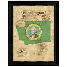 washingtonstate vintage mapart office wall home decor rustic gift
