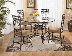 Rod Iron Home Decor Kitchen Glass Round Wrought Iron Kitchen Table With Brown Chairs