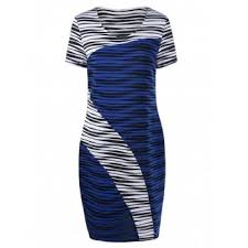 blue white color block dress cheap casual style online free
