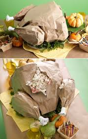 paper turkey stuffed with popcorn for the kid s table