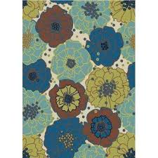 Yellow And Blue Outdoor Rug Floral Blue 5 X 7 Outdoor Rugs Rugs The Home Depot