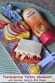 thanksgiving turkey sandwich with apple brie and hummus fresh
