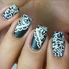 Nail Art Lace Design Nail Art Tutorial Super Easy Stamping Lace Design In Black U0026white
