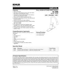 kohler k 596 cp simplice polished chrome pullout spray kitchen