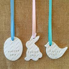 bunny decorations 3 x clay easter decorations gift embossed bunny rabbit egg the