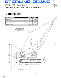 150 ton crawler crane load chart the best crane 2017