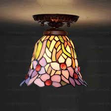 Small Stained Glass Shade Hallway Tiffany Ceiling Light