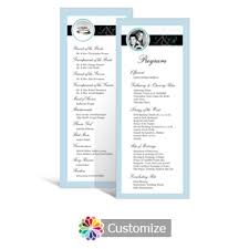 tea length wedding program custom color wedding reception programs