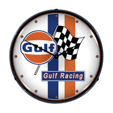 gulf racing stripes light up garage clock garage wall clocks
